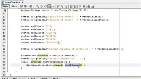 Java Tutorial Vector Exle | java programming how to use vector class in java youtube