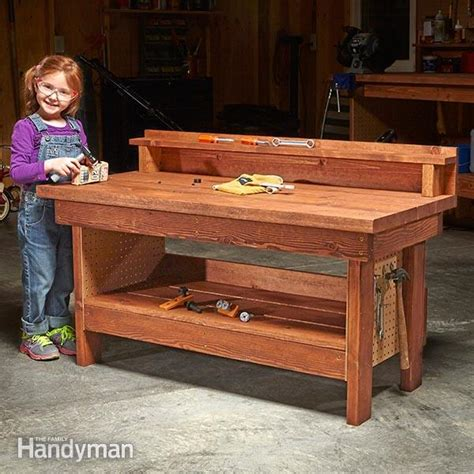 kids woodworking bench mini classic diy workbench for kids family handyman