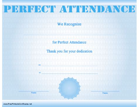 attendance certificate template free printable attendance certificates new calendar