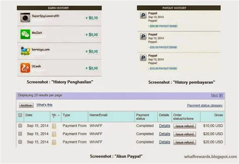 membuat akun paypal bri bukti pembayaran dari whaff rewards android app