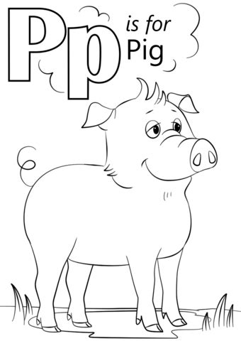 Letter P Coloring Pages Kindergarten by Letter P Is For Pig Coloring Page Free Printable