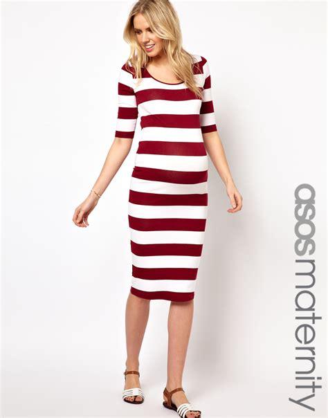 Gamis Fungli Wide Exclusive 02 asos exclusive bodycon midi dress in wide stripe in lyst