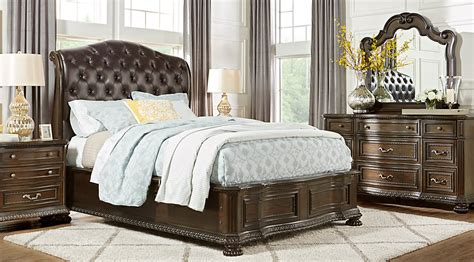 sleigh bedroom sets queen whittington cherry 5 pc queen sleigh bedroom queen