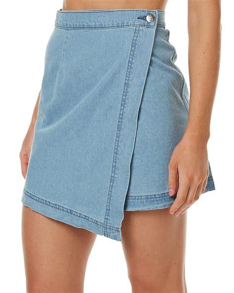minkpink denim womens wrap mini skirt denim blue