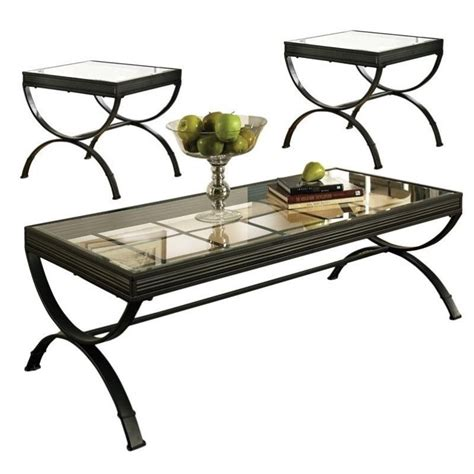 Steve Silver Coffee Table Sets Steve Silver Company Emerson 3 Coffee Table Set In Black Em2000