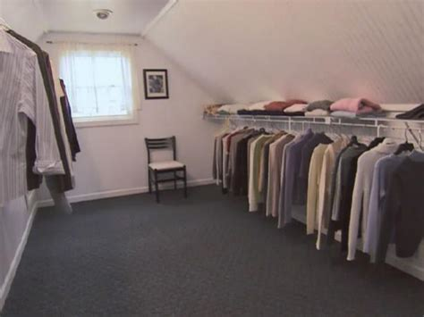 how to turn a walk in closet into a bedroom turn an unfinished attic into a walk in closet hgtv