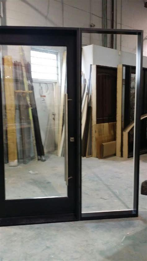 exterior modern fiberglass doors  clear glass  side