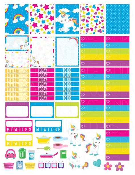 printable planner girly printable planner stickers rainbow unicorn cute by