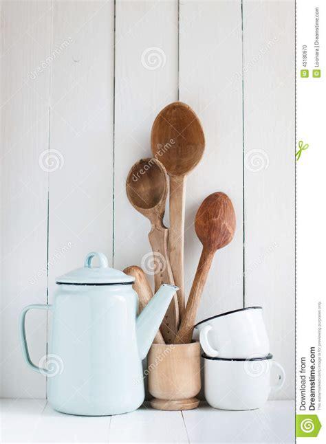 Rustic Coffee Mugs Coffee Pot Enamel Mugs And Rustic Spoons Stock Photo