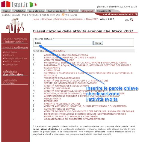 come trovare il codice di una codice ateco 2007 cos 232 blogfinanza