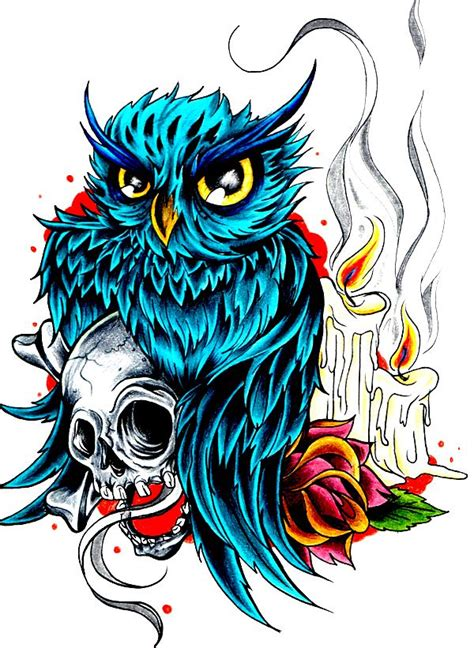 owl tattoo flash beautiful owl skull and flash flash