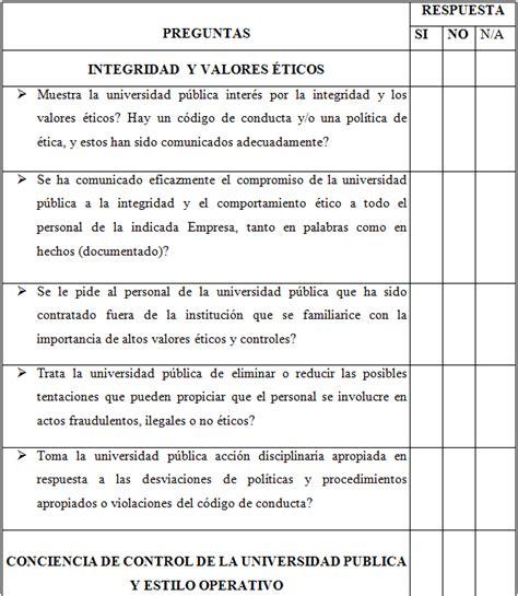 buenas preguntas de si o no el control interno y la auditor 237 a de gesti 243 n en entidades