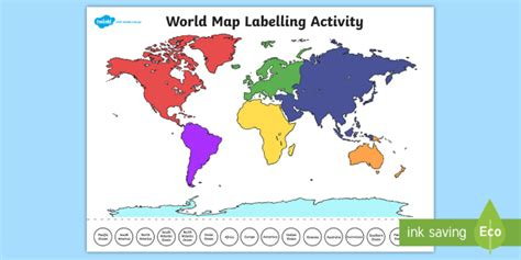 world map labelling activity teacher