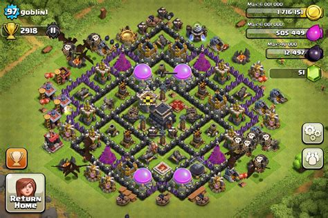 layout village clash of clans top 10 clash of clans town hall level 9 defense base design