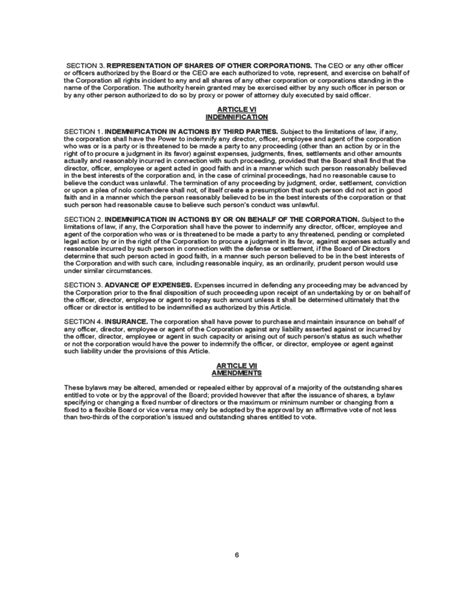 bylaws template sle bylaws template free