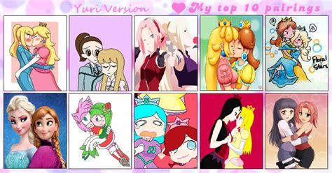 best yuri my top 10 favorite yuri pairings meme by princessahagen on