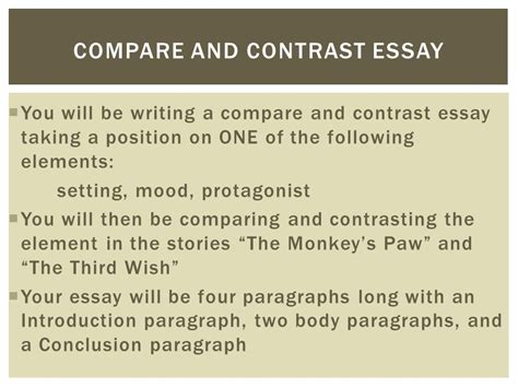 the monkey s paw theme essay compare and contrast essay ppt download