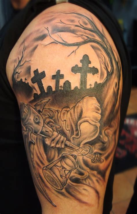 death tattoo various elements which can occur in a