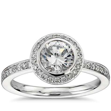 bezel set wedding band platinum bezel set halo pav 233 diamond engagement ring in platinum 1