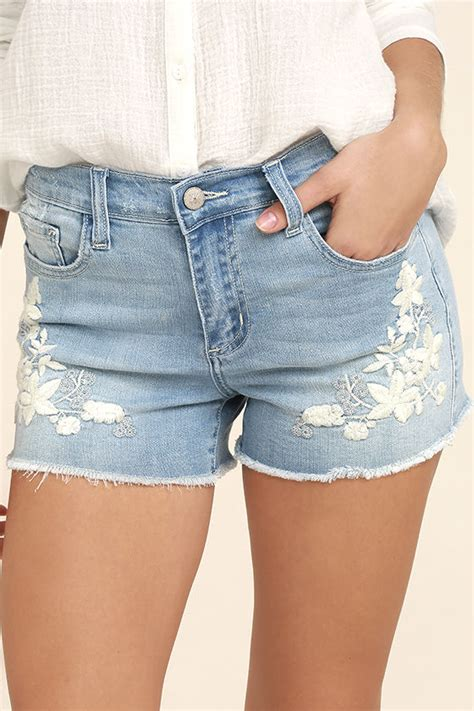 Embroidered Denim Shorts light wash shorts embroidered shorts distressed