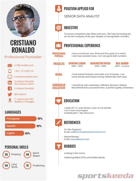 Resume Format After Retirement Cristiano Ronaldo S Post Retirement Cv