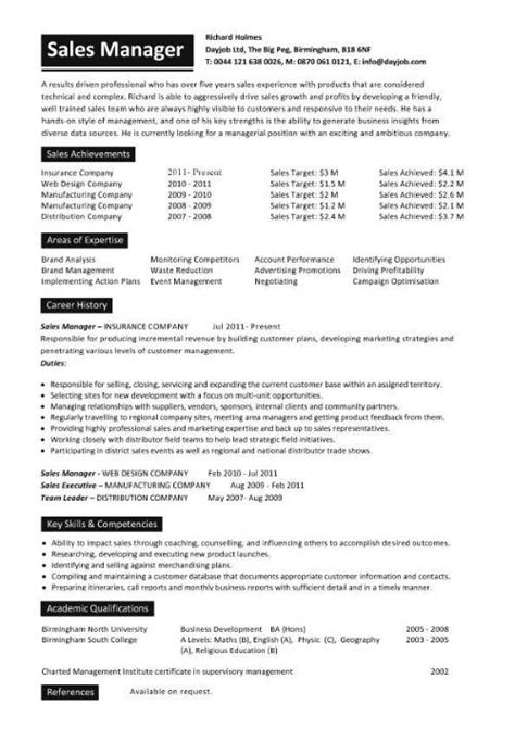 Sales Manager Resume Exles by Sales Manager Cv Exle Free Cv Template Sales Management Sales Cv Marketing