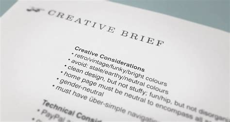 design brief used in a sentence behind the scenes of branding the creative brief