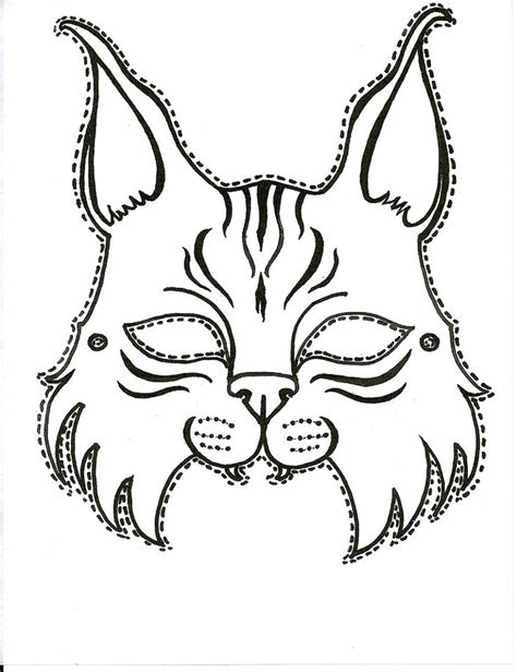 cat costume coloring page pin by georgia college on bobcat pride μασκεσ masks
