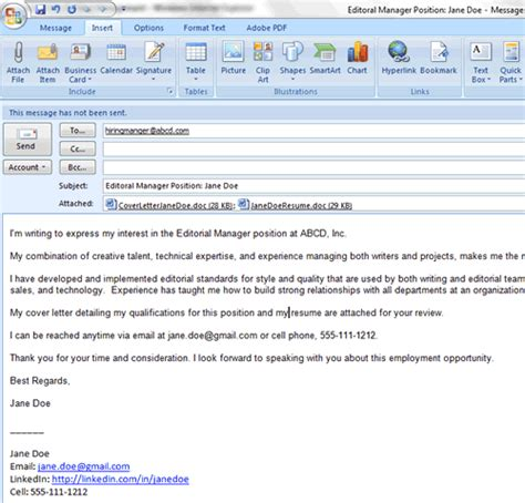 Cover Letter Via Email Signature How To Email A Resume And Cover Letter Attachment