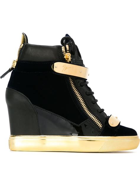 giuseppe zanotti coby wedge hi top sneakers in gold