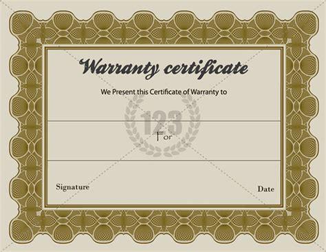 warranty certificate template sle templates