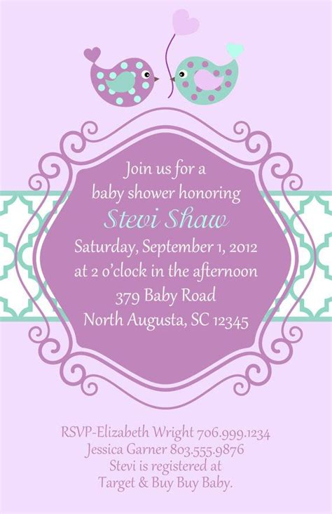 purple baby shower invitation templates purple and teal baby bird shower invitation set of 20
