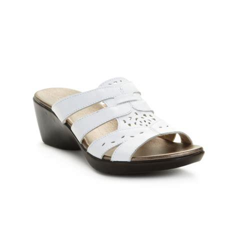 clarks white sandals clarks ella joe sandals in white lyst