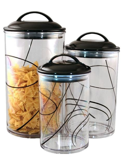 clear kitchen canisters 3 corelle clear acrylic canister set see thru storage jars