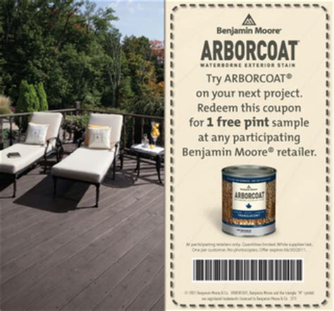 coupon clipping  canada benjamin moore  arborcoat