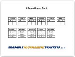 6 Team Draw Template by 6 Team Robin Tournament Bracket