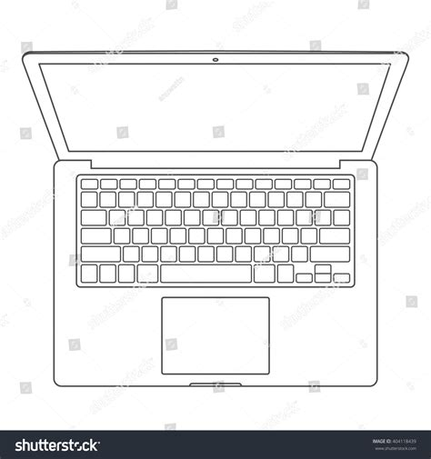 notebook layout word pc top view blank laptop computer keyboard stock vector
