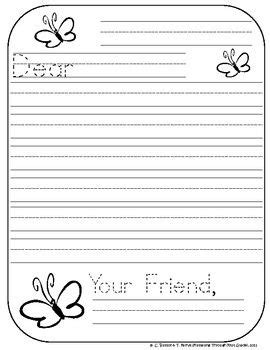 friendly letter writing paper kindergarten