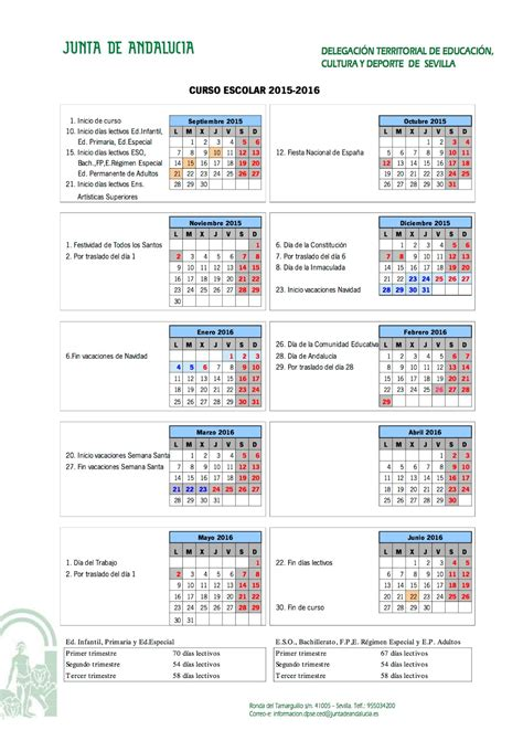 calendario escolar 2016 17 en andalucia new style for
