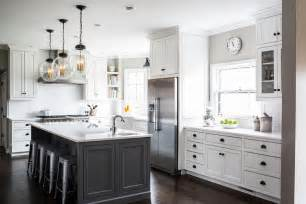 Kitchen Cabinets White Top Black Bottom White Cabinets With Charcoal Gray Kitchen Island