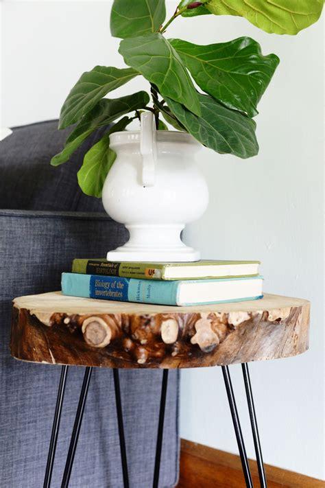 diy wood slab side table  hairpin legs