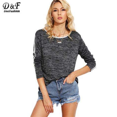 Pakaian Wanita Top Knit Tees dotfashion grey marled knit contrast binding tops neck sleeve tees autumn