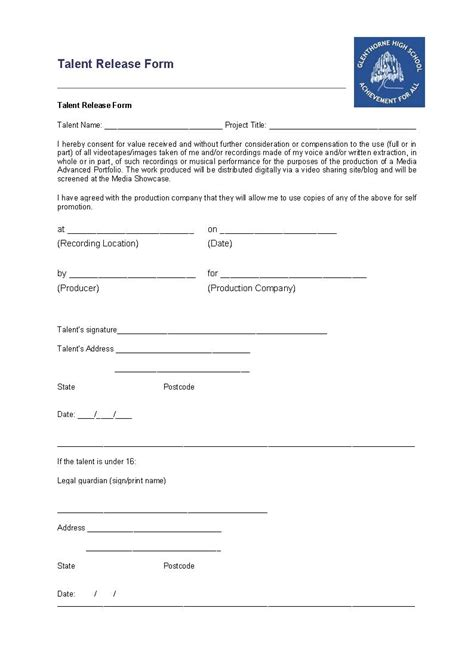 release form for filming template luciie astwood task sixteen talent release forms