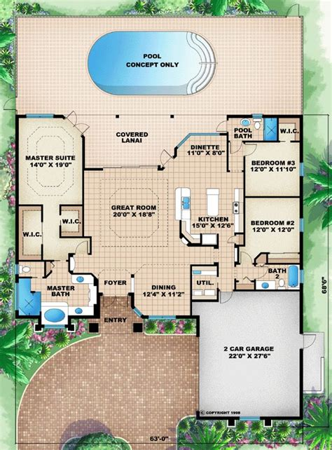 Floor Plans Florida by Florida Mediterranean House Plan 60505