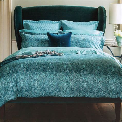 Henry Christy 1850 Alhambra Teal Blue Cotton Double Duvet Teal Bedding For