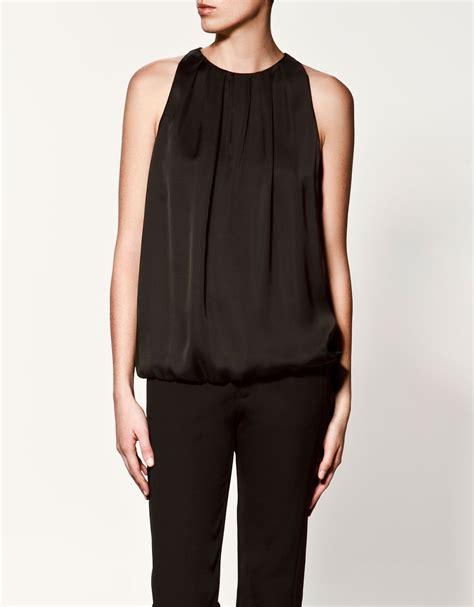 zara in black for lyst zara zip top in black lyst