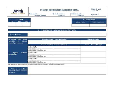 Modelo Curriculum Auditor Interno calam 233 o f ai 50 formato informe de auditoria