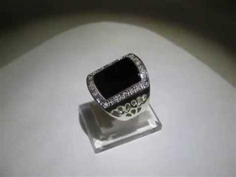 cincin pria black agate onyx silver ring 7us