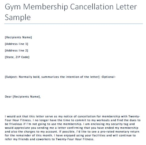 Gym Membership Cancellation Letter Format Gym Cancellation Letter Writing Professional Letters