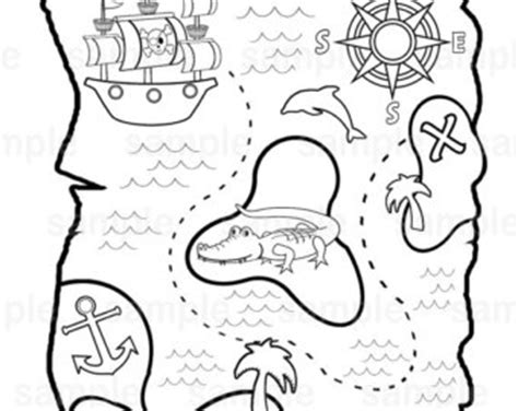 coloring page x marks the spot pirate treasure map etsy